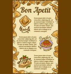 Bon appetit ravioli lasagne concept banner hand vector