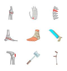 Bones trouble icons set cartoon style vector