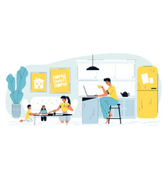 Busy father freelancer work on laptop at home vector