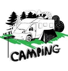 Camping in a forest Motorhouse and tent on the vector