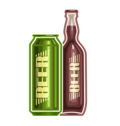 can and bottle beer vector image