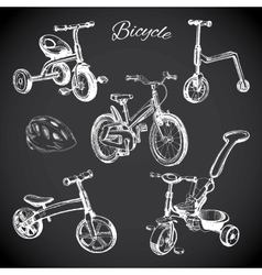 Chalk board set with hand drawn bicycles and vector