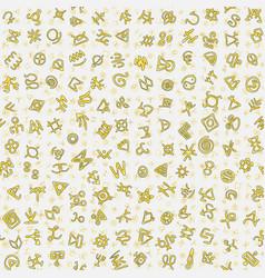 chaotic golden ancient symbols charms magic signs vector image