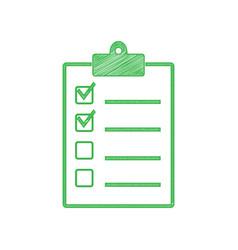 Checklist sign green scribble icon vector