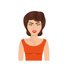 Colorful realistic half body woman with orange vector