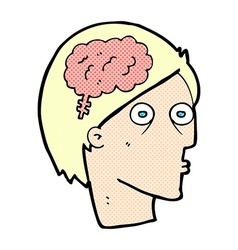 comic cartoon head with brain symbol vector image