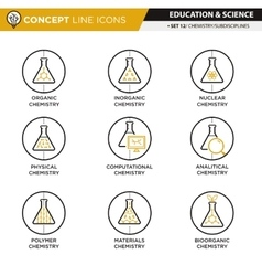 Concept Line Icons Set 12 Chemistry vector