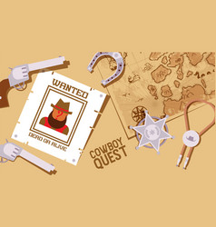 cowboy quest wild west game sheriff star and vector image