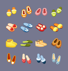 cozy slippers set yellow fur ugg boots stylish vector image