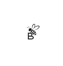 Creative bee insect abstract b letter logo vector