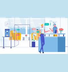 Customer in company or corporation reception lobby vector
