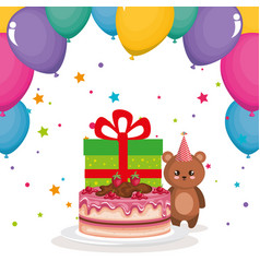 cute and little bear teddy with cake and gift vector image