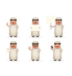 cute arab businessman man 3d realistic cartoon vector image