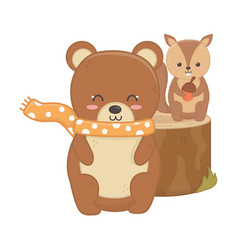 cute bear and squirrel animal forest hello autumn vector image