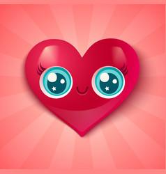 cute heart in kawaii style vector image vector image