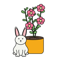 Cute little rabbit with house plant vector