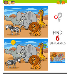 Differences game with african animal characters vector
