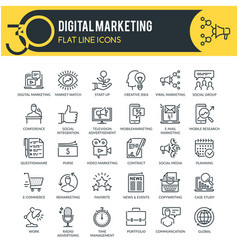 Digital marketing outline icons vector