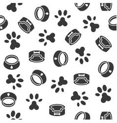 dog seamless pattern theme dish paw foot print vector image
