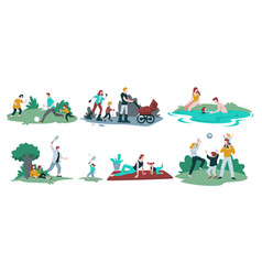 family pastime isolated icons parents and vector image