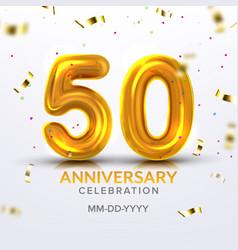 Fiftieth anniversary celebration number vector