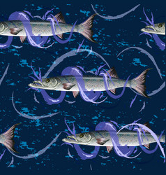 fresh fish with waves fish seamless pattern vector image