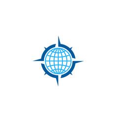 Globe compass logo icon design vector