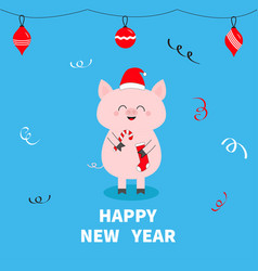 happy new year christmas ball toys pig holding vector image