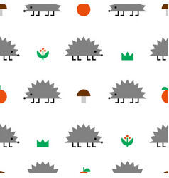 hedgehog colored geometric shape seamless pattern vector image