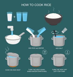 How to cook rice instruction card vector