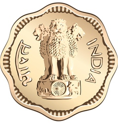 Indian rupee gold coin vector