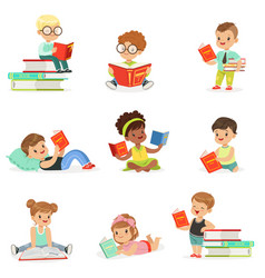 Kids reading books and enjoying literature vector