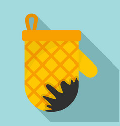 Kitchen burned glove icon flat style vector