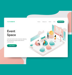 Landing page template event space concept vector