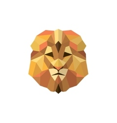 Leo golden orange mane low poly style of modern vector