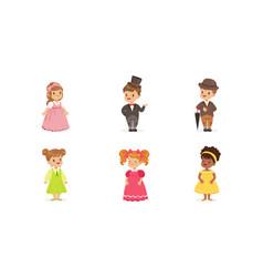 little children wearing adult attire set vector image