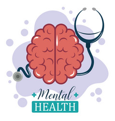 Mental health day stethoscope human brain vector