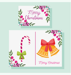 merry christmas greeting card decorative bell vector image