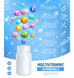Multivitamins complex dietary supplement pills vector