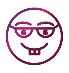 Nerd funny smiley emoticon face expression vector
