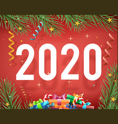 new year 2020 background confetti ribbons vector image