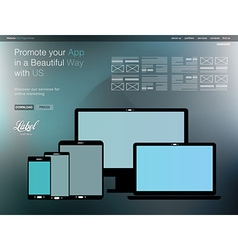 One Page Clear Modern Website template for an App vector image