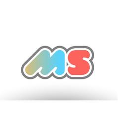 Orange pastel blue alphabet letter ms m s logo vector