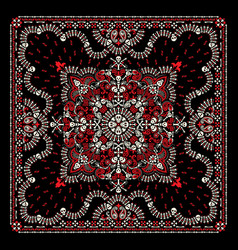 ornament paisley skulls and bones bandana vector image