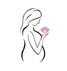 Pregnant mother holding a pink lotus flower vector