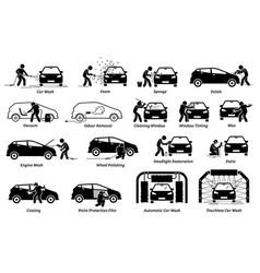 Professional auto car detailer icons set auto vector