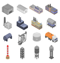 Refinery plant icons set isometric style vector
