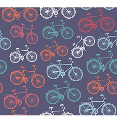 Retro hipster bicycle seamless pattern vector image