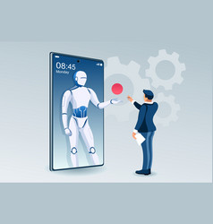 Robot office assistance concept vector