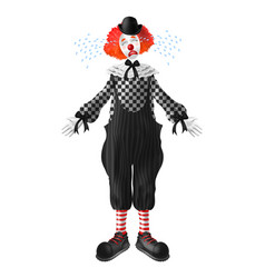 sad and crying clown realistic character vector image